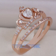 New Size 7 Women's Crown Ring 18k Alloy Rose Gold  Steel AAA Grade Zirconfashion
