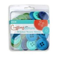 """Ocean Colors 1-3/8"""" Button Clam Shell - 40 Nylon Buttons - Great For Crafts"""