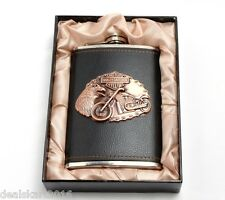 Premium Quality Harley Davidson Style Leather Covered Stainless Steel Hip Flask