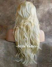 LIGHT BLONDE 3/4 Wig Fall Hairpiece Long Wavy Half Wig Layered Hair Piece #613