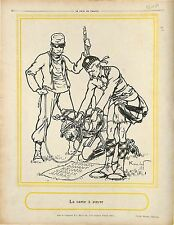 Caricature Anti-Kaiser Guillaume Wilhelm II Germany Scots Guards Poilus 1914 WWI