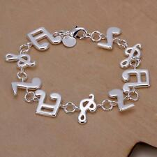 women 925 silver plated Music Note Solid women lady Bracelet bangle Jewelry H242