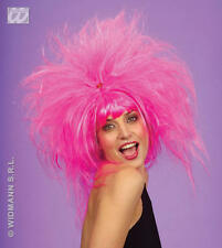 Ladies Messy Neon Pink Wig Nu Rave Funky Goth Emo Punk Festival Fancy Dress