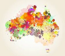 """Modern Abstract colourful Map of Australia CANVAS PRINT warm poster 24""""X16"""""""
