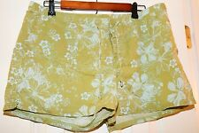 Unknown Green Flowers Women's Ladies Shorts Large L Excellent