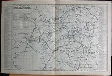 1896 LARGE VICTORIAN PLAN- LONDON & SUBURBS RAILWAY MAP