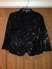 Women black sequins jacket hook an eye closure size Small free shipping