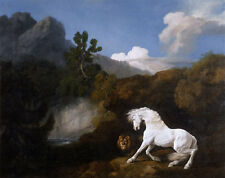 Horse frightened by a Lion George Stubbs caballos león timido moho B a3 00025