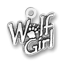 Wolf Girl Charm Sterling Silver Pendant Werewolf Pawprint Animal