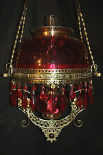 ANTIQUE B & H JEWELED HANGING OIL LAMP ( CRANBERRY BULLSEYE SHADE & FONT )