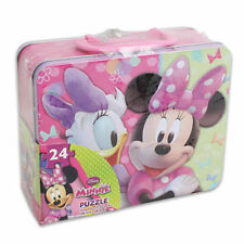 Tin Metal Lunch Snack Box + 24 pc Puzzle Disney Minnie Mouse NEW