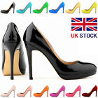 WOMENS PATENT LEATHER HIGH HEELS ROUND TOE CORSET COURT SHOES STILETTOS SIZE 3-8