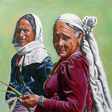 "SUPERB ALIX BAKER PCAFAS ORIGINAL ""Rice farmers, Nepal"" Portrait  PAINTING"