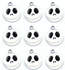 40Pcs White The nightmare before Christmas Jewelry Metal Charm Round pendants