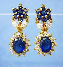 Stunning Blue Sapphire CZ Women Dangle Earrings 22K 18K Gold GP Thai jewelry GT5