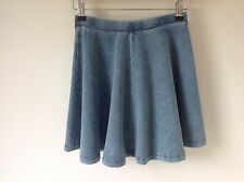 TOPSHOP SIZE 6 PETITE BLUE STRETCH DENIM SKATER SKIRT  BOHO HIPPY SMART CASUAL