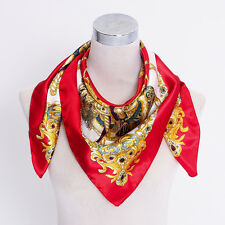 "Women Big Square Silk-like Satin Large Scarf Wrap 35x35"" Floral Print shawl Red"
