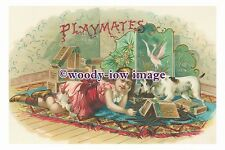 rp00986 - Children - Young Girl on a rug with her dog & cigar boxes - photograph