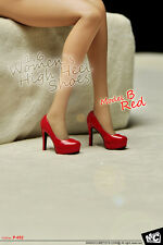 """1 Pair MC MCTOYS 1:6 Scale Red Women`s High Heel Shoes Fit 12"""" Female Figure"""