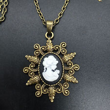 1pcs Fashion black Beauty Head Goddess Cameo Charm copper Alloy Lady Necklace