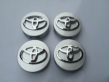 NEW SET OF 4 TOYOTA SILVER CENTER WHEEL HUB CAPS CHROME LOGO EMBLEM 42603-12730
