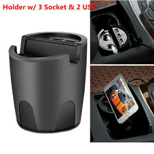 Car Charger Mobile Phone Cup Mount Holder 3USB Port+2 Cigarette Expansion Output