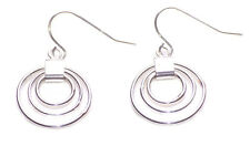 Circle Maze- Intricate Trio of Circle / Chrome Drop Earrings.(Zx85)