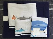 Pottery Barn Kids shark shower curtain Bath Towel hand towel bath mat navy 4pc