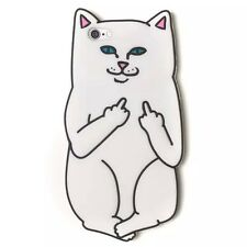 3D White Middle Finger Pocket Cat Cover For iPhone 5s/SE/5 Soft Silicone Case
