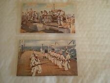 2 Vintage Navy Postcards - Bayonet Exercise & Gun Drill Loading-Both Are Tuck's