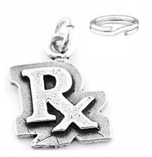 """SILVER  """"RX PHARMACIST SYMBOL"""" CHARM WITH SPLIT RING"""