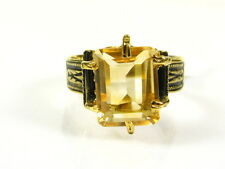 Victorian 14k Yellow Gold Sterling Silver 3ct Emerald Cut Citrine Ring I060C