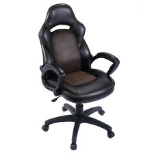 New High Back Race Car Style Bucket Seat Office Desk Chair Gaming Chair Brown