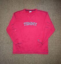 Tommy Hilfiger Men's Red Spellout Crewneck Sweatshirt Large L Vtg