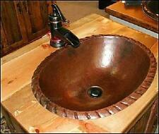 "19"" Oval Copper Drop In Vanity Bathroom Sink with Decorative Edge"
