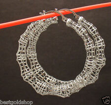 "1 3/4"" Technibond Large Bamboo Filigree Hoop Earrings Platinum Clad Silver"