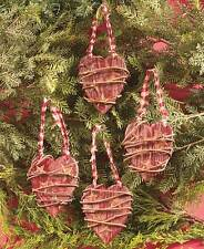 Set of 4 Country Wood Heart Christmas Tree Ornaments Rustic.