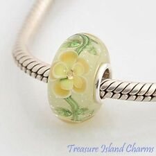 YELLOW FLOWER MURANO GLASS w/ CZ CRYSTAL 925 Sterling Silver EUROPEAN Bead Charm
