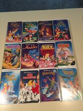 Disney Black Diamond VHS Tape Lot OF 12 THE CLASSICS ALADDIN Dumbo  PETER PAN