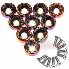 BILLET NEO CHROME Aluminum Fender Bumper Washer Bolt Engine DRESS UP 10 PC Screw