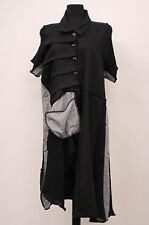 PRISA EURO KNIT CRINKLED ASYM BUTTONED TUNIC SWEATER BLOUSE BLK Sz OS US 14 $309