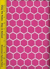 QUILT FABRIC: 100% COTTON, FLAMINGO PINK HONEYCOMB, By The Yard