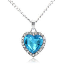 Korean Sapphire Heart Pendant Long Necklace White Gold Filled Simple Style