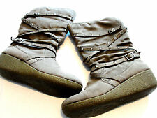 Stunning Sz 9M  JUSTICE Brown Mid Calf Fashion/Winter Boots/Shoes Low Wedge HOT!