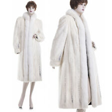 Mint! Luxurious Female Creamy White Cross Mink w/Fox Tux Fur Coat