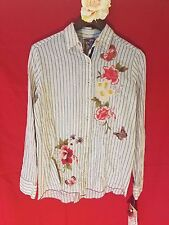 3J WORKSHOP s small ANISE BASIC SHIRT butterfly stripe JWLA Johnny Was nwt new