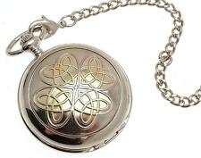 Pocket watch Two Tone Entwined Love Knot design skeleton mechanism