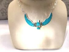 Carved Father Blue Sky EAGLE WINGS Sterling Chain Turquoise Pendant  Necklace