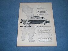 "1957 Sunbeam Rapier Vintage Ad ""Classic Car of the Future at Home & Abroad"""