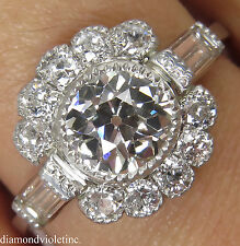 GIA 1.85CT ANTIQUE VINTAGE OLD EURO DIAMOND ENGAGEMENT WEDDING CLUSTER RING PLAT